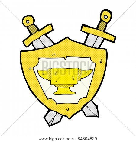 retro comic book style cartoon blacksmith anvil heraldry symbol