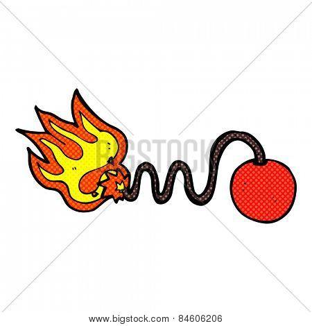 retro comic book style cartoon bomb with burning fuse