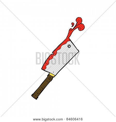 retro comic book style cartoon meat cleaver