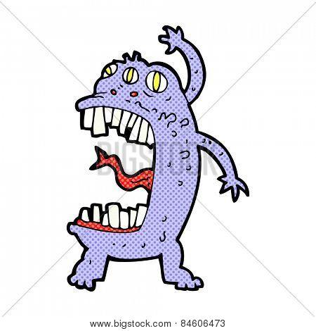 retro comic book style cartoon crazy monster