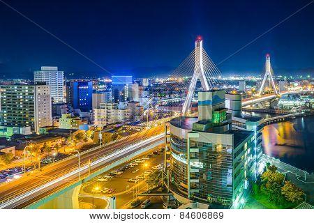 Aomori City, Japan downtown cityscape.