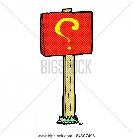 retro comic book style cartoon question mark sign post
