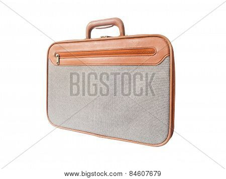 Brown Leather With Grey Tweed Fabric Briefcase Isolated