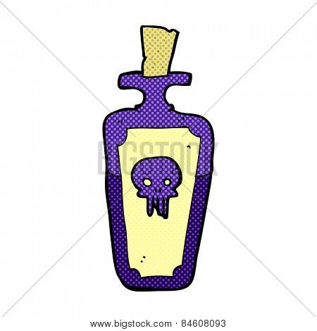retro comic book style cartoon potion bottle