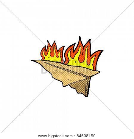 retro comic book style cartoon burning paper aeroplane