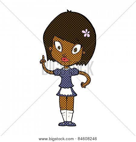 retro comic book style cartoon pretty maid