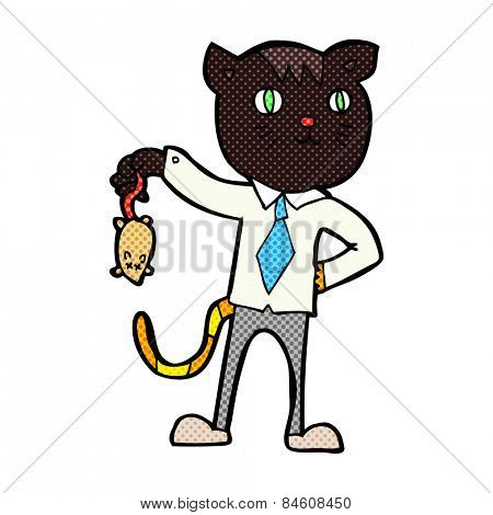 retro comic book style cartoon business cat with dead mouse