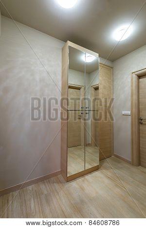 Modern Interior With Bright Wooden Wardrobe With Mirror