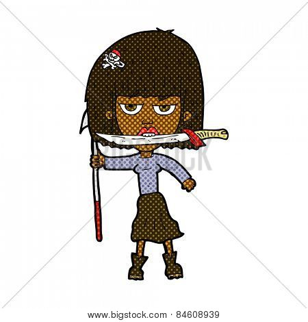 retro comic book style cartoon woman with knife and harpoon