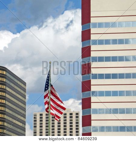 Stars Stripes And Buildings