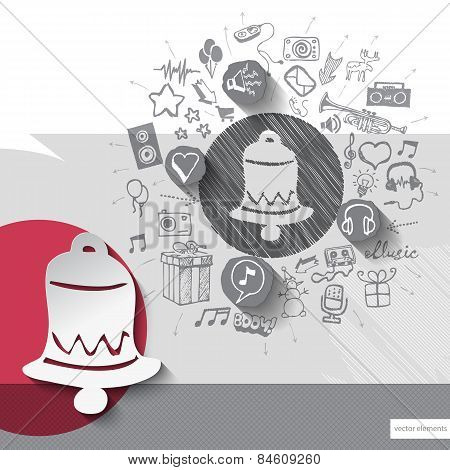Hand drawn bell icons with icons background