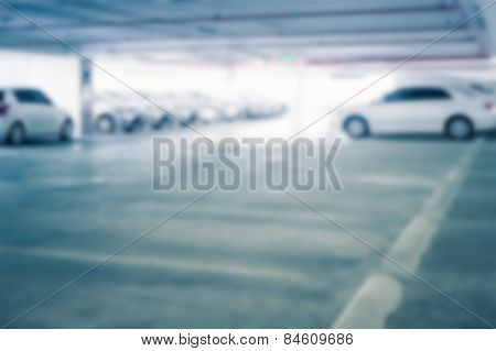 Abstract Blur Background Of Business Car Parking Lot And Empty Or Vacant Space, Shallow Depth Of Foc