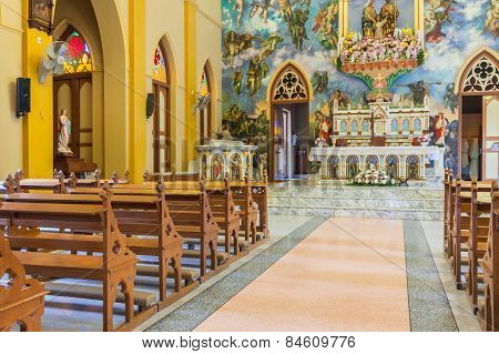 Pathumtani, Thailand - February 28 : The Interiors Of Catholic Church, It Was Built With French Styl