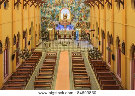 Pathumtani, Thailand - February 28 : Top View, Interiors Of Catholic Church, It Was Built With Frenc