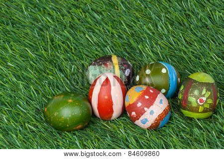 Happy Easter Eggs Group On Grass,can Use As Background For God Festival