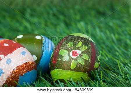 Happy Easter Eggs Festival Event On Grass,can Use As Background.