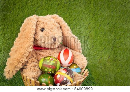 Rabbit, Sit And Holding Empty Basket On Grass For Happy Easter Eggs Festival