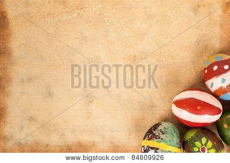 Happy Easter Eggs Festival Event And Grunge Paper Canvas Background