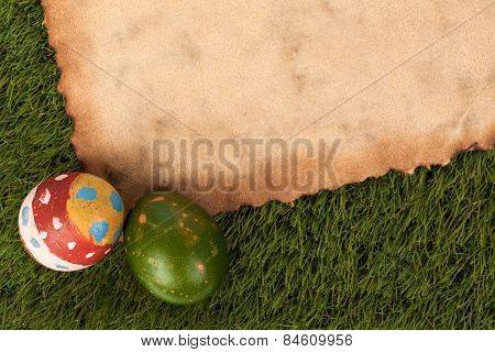 Happy Easter Eggs Festival Event On Grass And Grunge Paper,can Use As Background