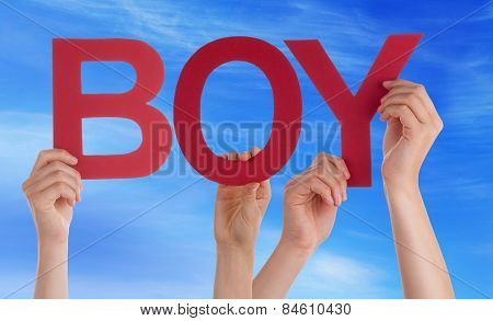 Many People Hands Holding Red Straight Word Boy Blue Sky