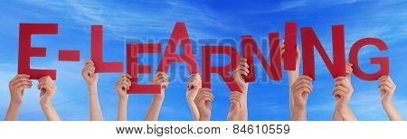Many People Hands Holding Red Word Elearning Blue Sky