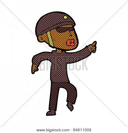 retro comic book style cartoon man in bike helmet pointing