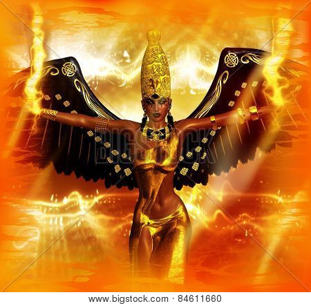 Angel of fire fantasy image. An angel with wings of black feathers
