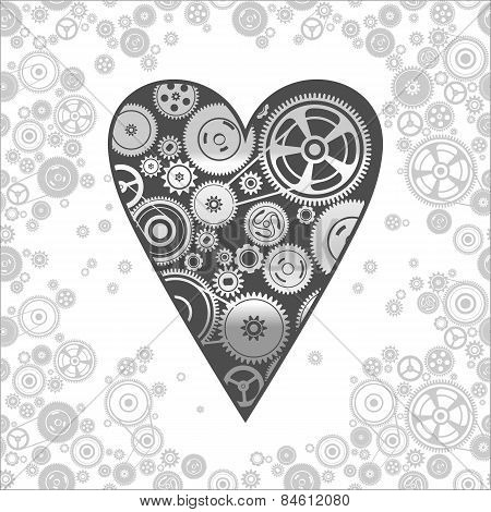 Gearwheel Heart-shaped Mechanism Background