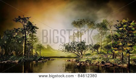 3D illustration of landscape of a serene lake