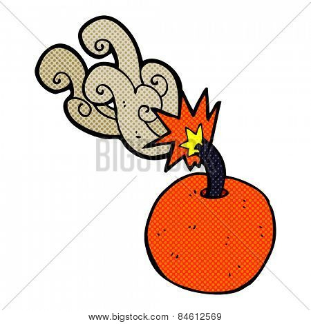 retro comic book style cartoon burning bomb