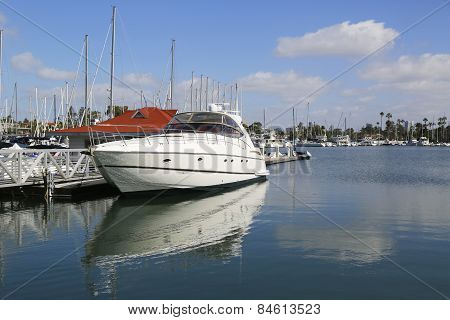 Private boats at Glorietta Bay Marina in San Diego