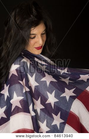 Dark Complected Female Model Wrapped In An American Flag Scarf