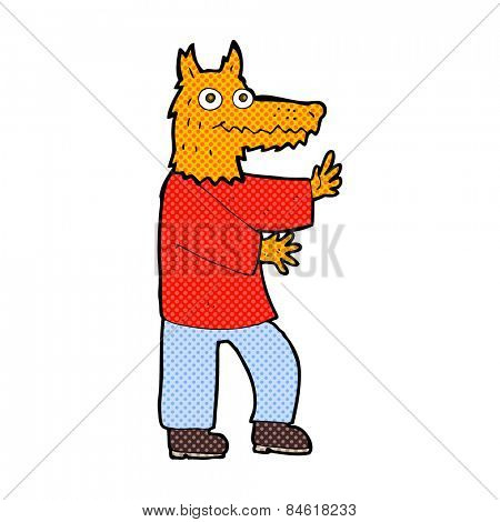retro comic book style cartoon funny fox man