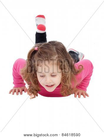 Cute little girl in pink playing isolated on a white background