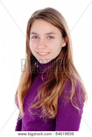 Adorable blonde teenager looking at camera isolated on a white background