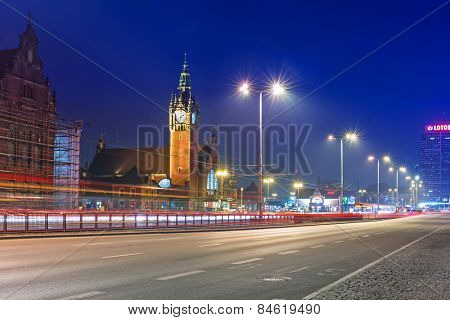 GDANSK, POLAND - FEBRUARY 21, 2015: Main railway station in the city center of Gdansk, Poland. The main railway station of Gdansk is a beautiful historic building built in the end of XIX century.