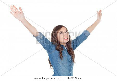 Young casual woman with her arms extended isolated on a white background