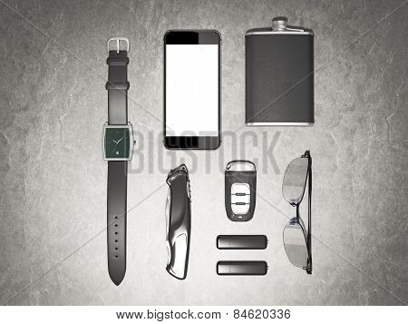 Every Day Carry Man Items Collection: Glasses, Usb, Keys, Watches,flask.