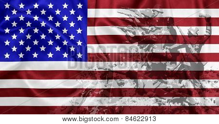 United States of America - Waving national flag on silk texture with battlefield theme