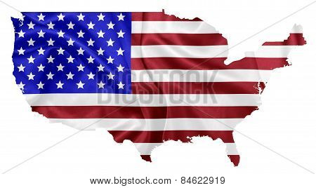 United States of America - Waving national flag on map contour with silk texture