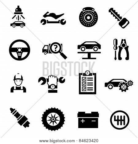 Car Repair Icons Black