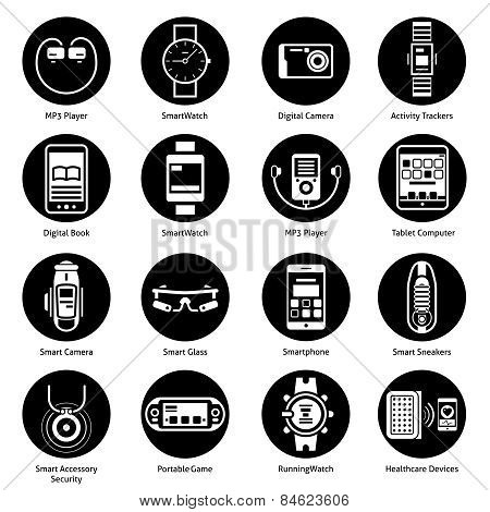 Wearable Technology Icons Black