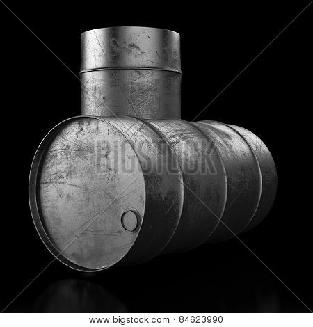 Oil Barrel On Dark Background
