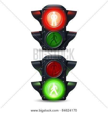 Pedestrian Traffic Lights Set