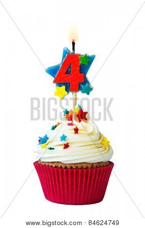 Cupcake with number four candle