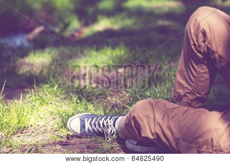 Relaxing boy in a meadow