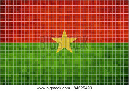 Abstract mosaic flag of Burkina Faso