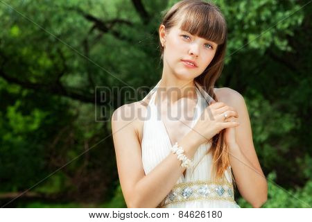 attractive girl on the nature