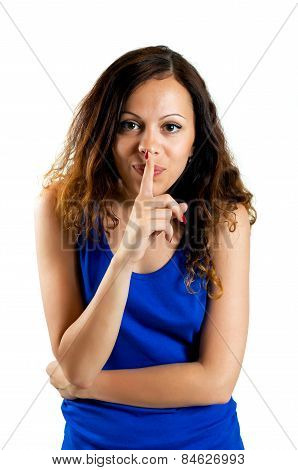 Beautiful woman with silence sign