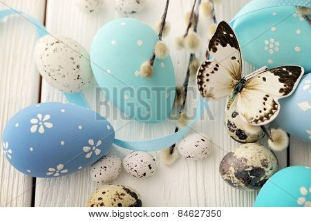 blue easter eggs decoration